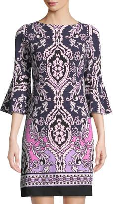 Taylor 3/4 Bell-Sleeve Shift Dress