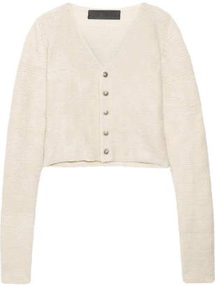 The Elder Statesman Cropped Cashmere Cardigan - Cream