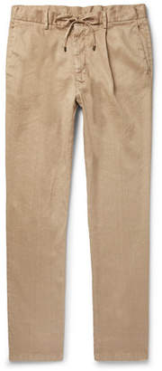 Beams Slim-Fit Tapered Pleated Linen-Blend Twill Drawstring Trousers