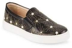 Aquazzura Mini Girl's Leather Slip-On Shoes