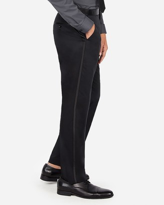Express Classic Black Satin Accent Cotton Sateen Tuxedo Pant