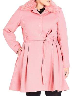 City Chic Plus Blushing Belle Faux Fur-Trimmed Coat