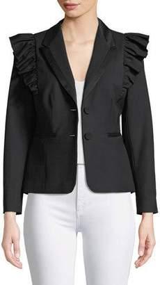 Rebecca Taylor Ruffled Stretch-Wool Jacket
