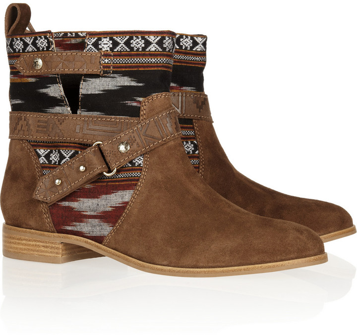 Twelfth St. By Cynthia Vincent West ikat cotton and suede boots