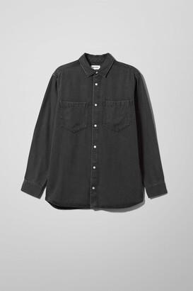 Weekday Lou Washed Black Denim Shirt - Black