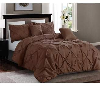 Lorient Home 5 piece Pintuck King Comforter set, Taupe