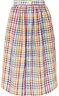 MDS Stripes Gingham Cotton Midi Skirt - Yellow