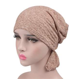 Staringirl Womens Solid Color Ethnic Cloth Print Turban Headwear Chemo Cancer Head Scarf Hat Cap (Color)
