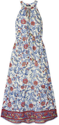 J.Crew Ruffle-trimmed Floral-print Cotton-voile Maxi Dress - Blue
