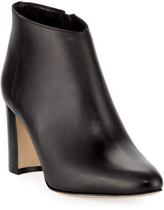 Manolo Blahnik Brusta Leather Stack-Heel Bootie