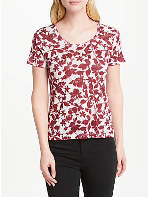 John Lewis Smudge Floral Print Jersey Top, White/Red