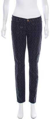 Current/Elliott Brocade Pattern Mid-Rise Skinny Jeans