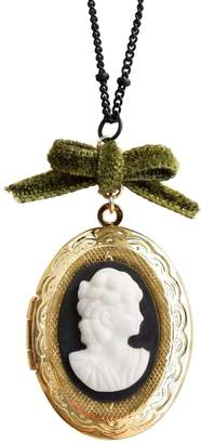 POPORCELAIN - Dark Romance Goddess Oval Porcelain Cameo Locket Necklace