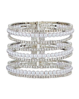 Fragments for Neiman Marcus 9-Row Rhinestone & Pearly Cuff