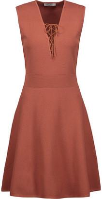 Sandro Rikka Lace-Up Stretch-Knit Mini Dress $325 thestylecure.com
