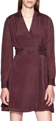 Equipment Allaire Textured Long Sleeve Silk Blend Wrap Dress