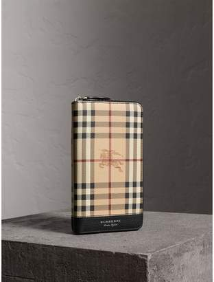 Burberry Haymarket Check and Leather Ziparound Wallet
