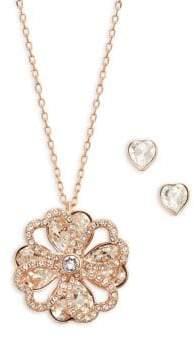 Swarovski Deary Rose Goldtone, Crystal Flower Pendant Necklace & Heart Stud Earrings Set