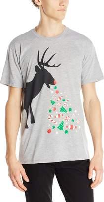 Body Rags Men's Reindeer Treats Ugly Christmas T-Shirt, Heather Grey
