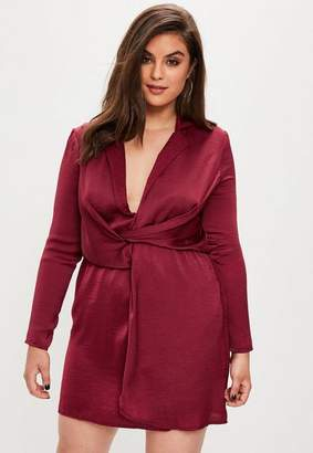 Missguided Curve Burgundy Wrap Dress