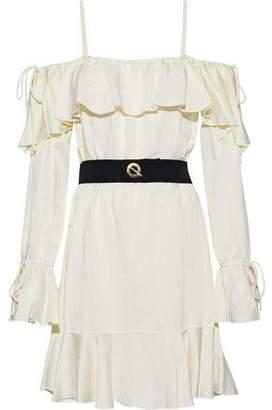 Derek Lam 10 Crosby Cold-Shoulder Belted Ruffled Sateen Dress