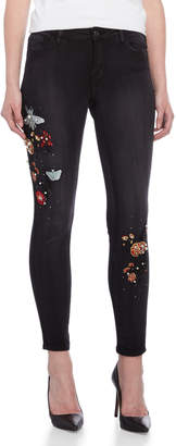 Bebe Lust Embriodered Beaded Detail Skinny Jeans