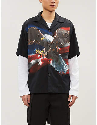 Palm Angels Eagle-print regular-fit cotton bowling shirt