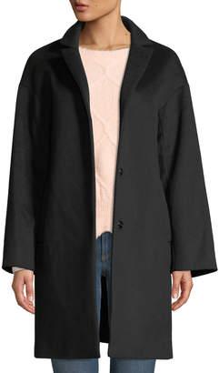Cinzia Rocca Snap-Button Wool-Blend Cocoon Coat, Black