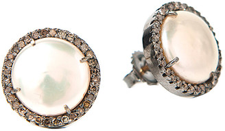Rivka Friedman Signature Collection 14K & Silver 0.65 Ct.Tw. Champagne Diamond & 13Mm Pearl Studs