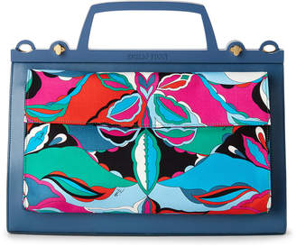 Emilio Pucci Patterned Front Leather Tote