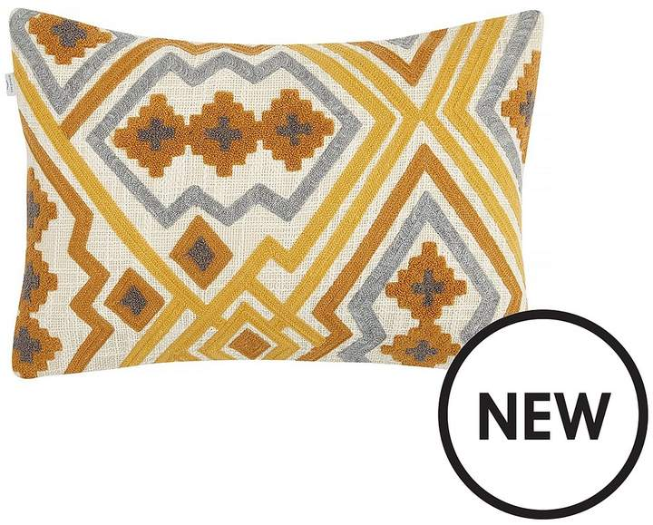 Hand-Embroidered Cushion In Ochre/Grey