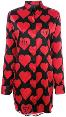 Philipp Plein heart print longline shirt