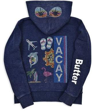 20a0c28c2f7 ... Butter Shoes Girls  Embellished Fleece Vacay Hoodie - Little Kid