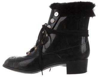 Chanel CC Cap-Toe Rain Boots