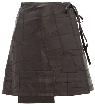 Ganni Patchwork Leather Wrap Skirt - Womens - Black