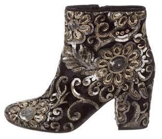 Karl Lagerfeld Paris Velvet Ankle Boots