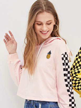Shein Pineapple Embroidered Patch Checkered Sleeve Crop Hoodie