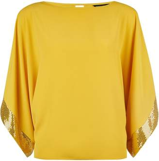 Dorothy Perkins Womens Lime Sequin Cuff Batwing Top