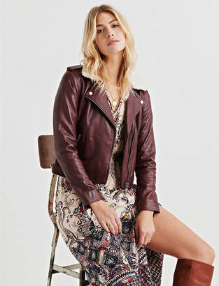 Lucky Brand SHERPA COLLAR LEATHER JACKET