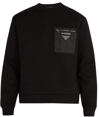 Prada Panelled Cotton Blend Sweatshirt - Mens - Black
