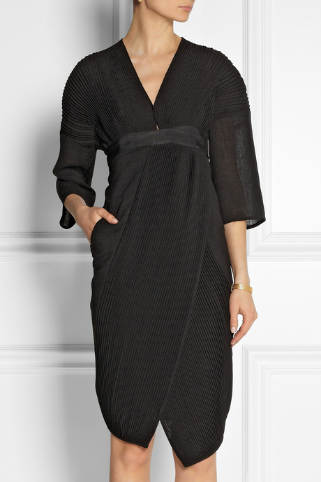 Zero Maria Cornejo Lisse plissé and voile wrap dress