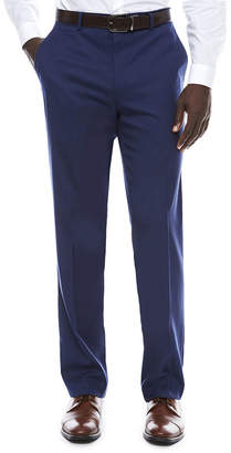 Jf J.Ferrar Men's JF Stretch Blue Micro Check Flat-Front Straight-Leg Slim-Fit Pant