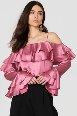 Na Kd Party Off Shoulder Double Flounce Top Dark Blue