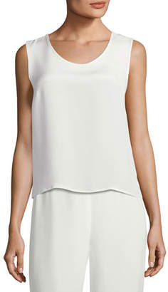 Caroline Rose Silk Crepe Tank Top, Plus Size
