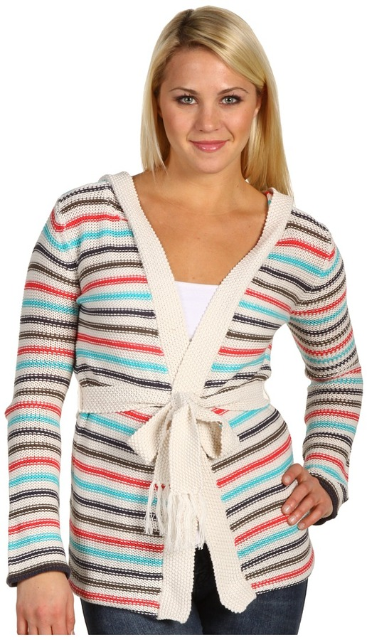 Roxy Passing Through Hooded Cardigan (Natural Stripe) - Apparel