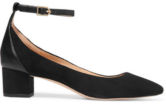 Sam Edelman - Lola Leather-trimmed Suede Pumps - Black $140 thestylecure.com