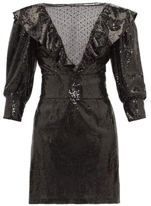 Dundas Mesh Insert Sequinned Dress - Womens - Black