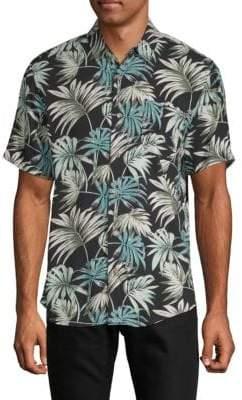 Tropical Leaf-Print Short-Sleeve Shirt