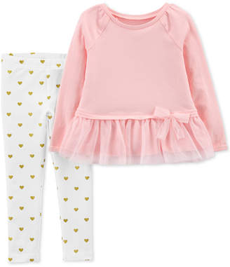 Carter's Baby Girls 2-Pc. Peplum Top & Heart-Print Leggings Set