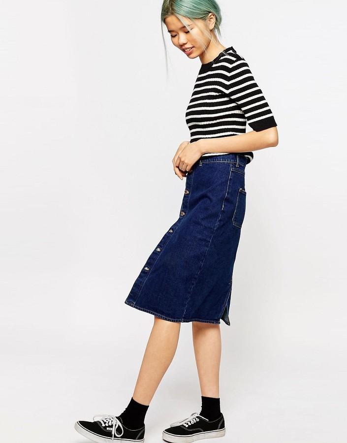 monki high waisted denim skirt shopstyle co uk